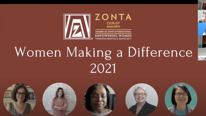 screenshot of Women Making a Difference opening slide during event