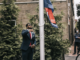 Malden CORE member Ted Louis Jacques raising the Juneteenth Flag at City Hall Plaza